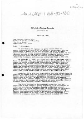 United States Senate, letter to President George Bush concerning Antarctic minerals debate and environment protection, and related letter from other Congressmen