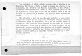 Chilean note to Argentina reserving Chilean rights in connection to Argentine shelters of San Juan and San Antonio, and Argentina's response