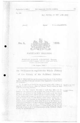 Falklands Islands, Whale Fishery Ordinance, no 5 of 1908