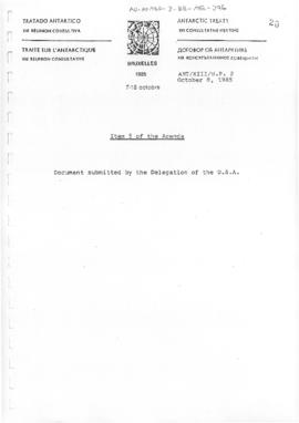 "Thirteenth Antarctic Treaty Consultative Meeting (Brussels) Working paper 2 ""Item 5 of the A..."