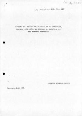 Chile, Antarctic Treaty inspection report 1986-87