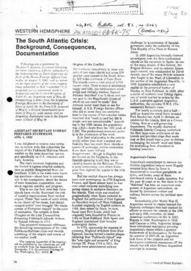 """The South Atlantic Crisis: Background, Consequences, Documentation"" US Department of State Bulletin"
