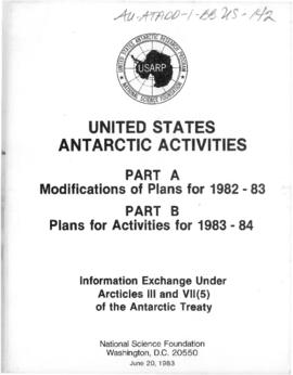 United States Antarctic Activities, Information exchange 1982-83 and 1983-84