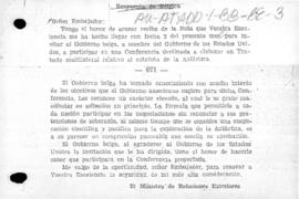 Belgian note to the United States accepting the invitation to attend an international conference