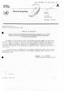 United Nations General Assembly, Question of Antarctic, correspondence conveying the press statem...