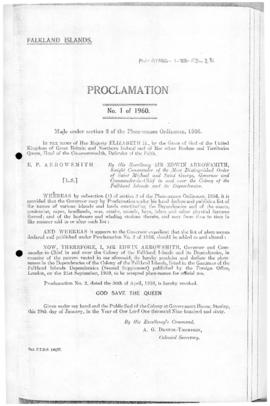 Falkland Islands, Proclamation under the place-names Ordinance, no 1 of 1960