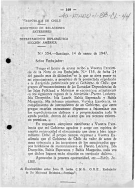 Chilean note to the United Kingdom replying to a British offer of assistance in Antarctica and mentioning British incursions into the Chilean Antarctic Territory