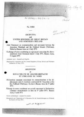 Argentina and United Kingdom, exchange of notes concerning communication and movements between the Argentine mainland and the Falkland Islands (Malvinas)