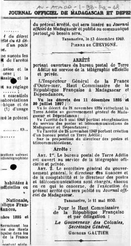 Order concerning the opening of a post office at Adélie Land for official and private telegraph s...