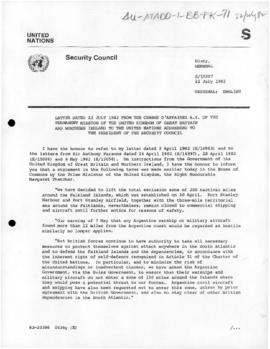 United Nations Security Council and General Assembly, documents concerning the Falklands/Malvinas conflict, July-September 1982