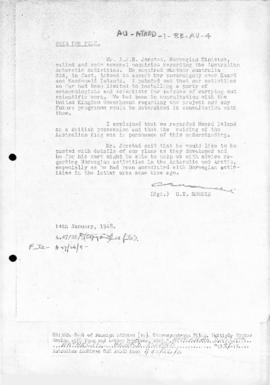 Norwegian enquiries concerning Australian intentions with regard to Heard Island