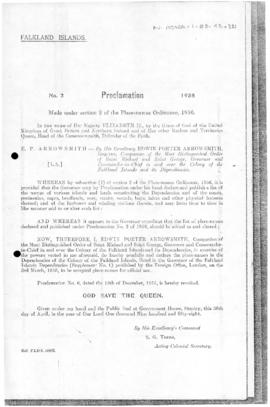 Falkland Islands, Proclamation under the Place-Names Ordinance, no 2 of 1958