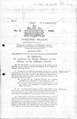 Falkland Islands, Whale Fishery Ordinance, no 3 of 1906