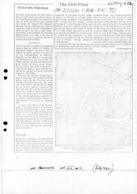 UN Chronicle articles concerning the Falklands/Malvinas conflict, July 1982