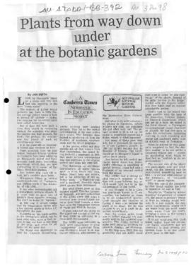 "Smith, Jan ""Plants from way down under at the botanic gardens"" Canberra Times"
