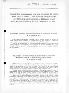 Argentine report on negotiations with the United Kingdom concerning sovereignty over Islas Malvinas, South Georgia and South Sandwich Islands