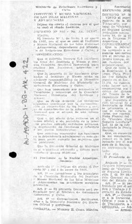 Argentina, Decree 916,  establishing the National Institute and Museum of the Falkland (Malvinas)...