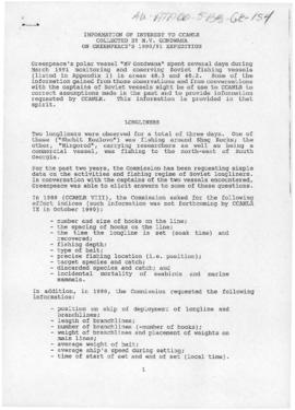 "Information of interest to CCAMLR collected by polar vessel ""MV Gondwana"" on Greenpeace's 1990/91 expedition"