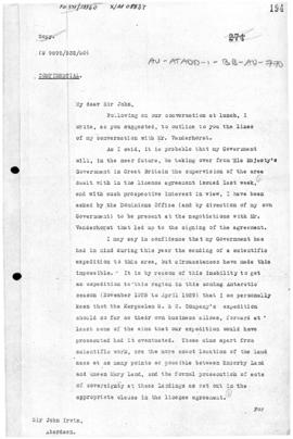 R G Casey letter concerning the intentions of the Australia in Antarctica