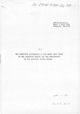 "Eleventh Antarctic Treaty Consultative Meeting, Buenos Aires, Working paper 34 ""The twentiet..."
