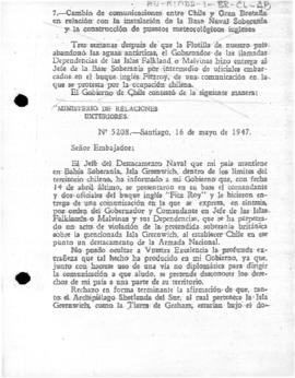 "Chilean note of to the United Kingdom rejecting the British protest at the establishment of ""Soberanía"" base"