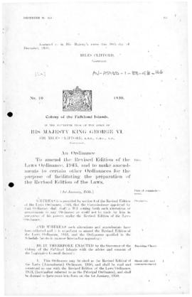 Falkland, Revised Edition of the Laws (Amendment) Ordinance, no 10 of 1950