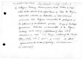 Belgian notes concerning settlement of the Antarctic question