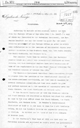 Norwegian memorandum of to the United Kingdom requesting information on territorial rights over the South Orkney Islands, the South Shetland Islands and Graham Land