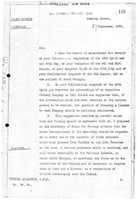 British Colonial Office despatch to Falkland Island concerning lease of South Georgia