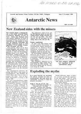 "Environment campaign newsletters, ""New Zealand sides with their miners"" and ""US unease with Minerals Convention mounts"" Antarctic News Issues 9 and 10"