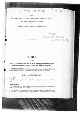 Australia, House of Representatives, Crimes Legislation Amendment Bill 1990