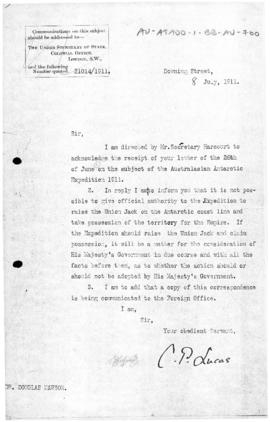 British Colonial Office letter to Dr Douglas Mawson concerning authority to claim territory