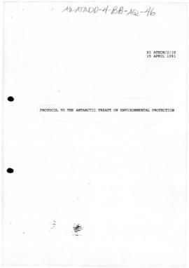 Eleventh Special Antarctic Treaty Consultative Meeting, Session 2, Madrid, Draft Protocol to the ...