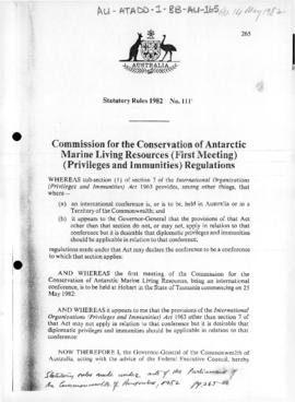 Commission for the Conservation of Antarctic Marine Living Resources (First Meeting) (Privileges and Immunities) Regulations