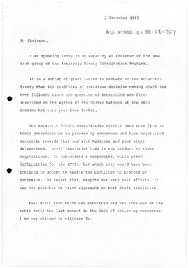 Australia, Department of Foreign Affairs, Australian Mission to the United Nations, letter from t...