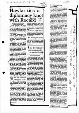 "Press article ""Hawke ties a diplomacy know with Rocard"" Sydney Morning Herald; and related articles"
