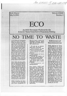 "Environment campaign newsletters, ""No time to waste"", ""Marine protected areas"" and ""Belgian mining ban?"" ECO Vol LXXII (1) (2) and (3)"