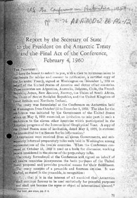 United States, Report by the Secretary of State to the President on the Antarctic Treaty, and Sum...