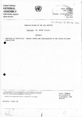 "United Nations General Assembly, Forty-third session, First Committee, Verbatim Record of the 45th Meeting ""Question of Antarctica: General Debate and consideration of and action upon draft resolutions""  (A/C.1/43/PV.45)"