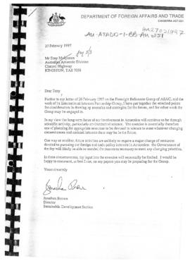 Letter from the Department of Foreign Affairs and Trade on Australian future involvement in Antarctica