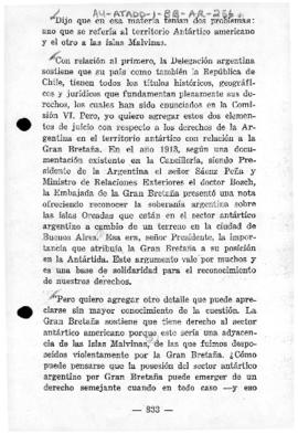 Argentine statement commenting upon the British claim to the Falkland (Malvinas) Islands and Antarctic territories (extract)