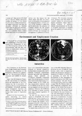 "Press article ""Antarctica"" Environmental Policy and Law"
