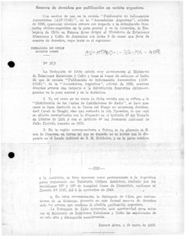 Chilean note to Argentina reserving rights in response to Argentine publication claiming Chilean territory as part of Argentina, and Argentina's response