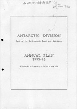 "Antarctic Division ""Annual Plan 1992-93"""
