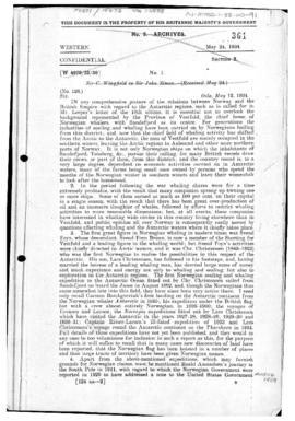 British despatch concerning Norwegian interests in the Antarctic