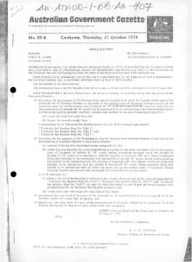Australian Government Gazette, Proclamation under the Seas and Submerged Lands Act 1973 declaring...