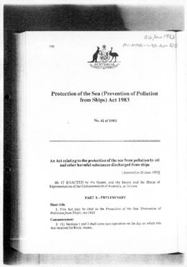 Australia, Protection of the Sea (Prevention of Pollution from Ships) Act 1983