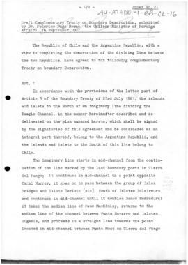 Chilean draft of a complementary boundary treaty