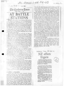 Press articles concerning the Falkland Islands/Malvinas conflict, May 1982