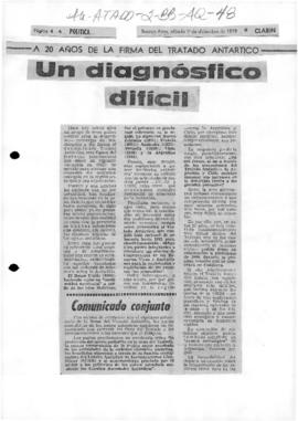 "Press article ""Un diagnosfico dificil"" Eduardo van der Kooy, Politica, Buenos Aires"